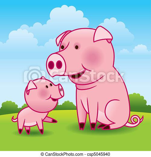 Cerdo, vector cerdito - csp5045940