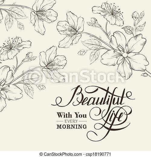 Flor de cerezo de caligrafía. - csp18190771