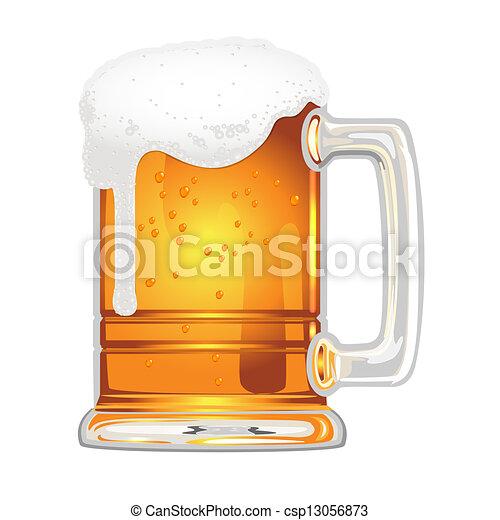 Cerveza con vejiga en vaso blanco - csp13056873