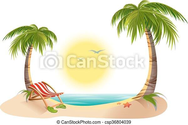 Chaise Longue de playa bajo la palma de la mano - csp36804039
