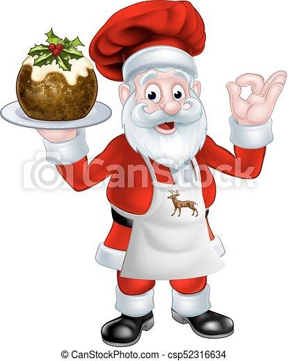 Santa chef sosteniendo un pudín de Navidad - csp52316634