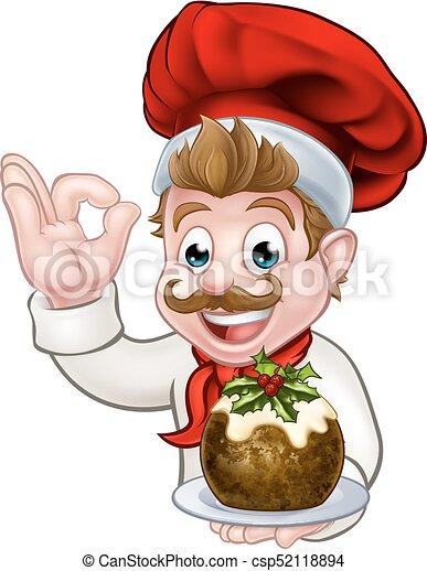 Chef con sombrero de Navidad sosteniendo pudín - csp52118894