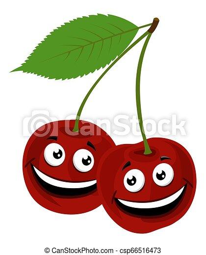 Cherry. Vector Ilustración de un divertido par de cerezas con cara, sobre fondo blanco. - csp66516473