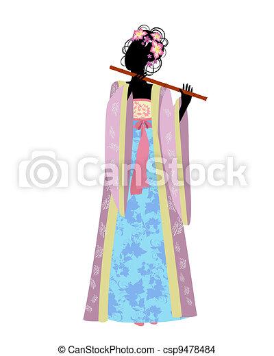 Chica china con una flauta en traje tradicional - csp9478484