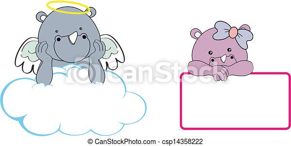 Chica de Rhino, ángel, copia a Clo - csp14358222