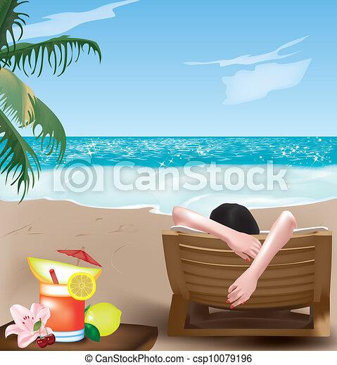 Chica en la silla de cubierta - csp10079196