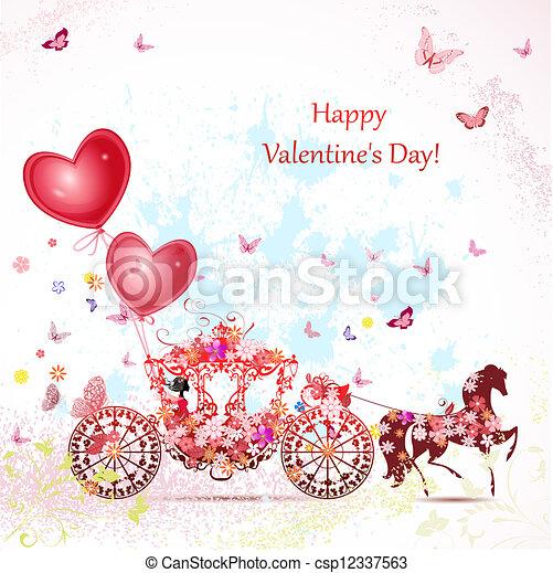 Chica en un carruaje con Valentines - csp12337563