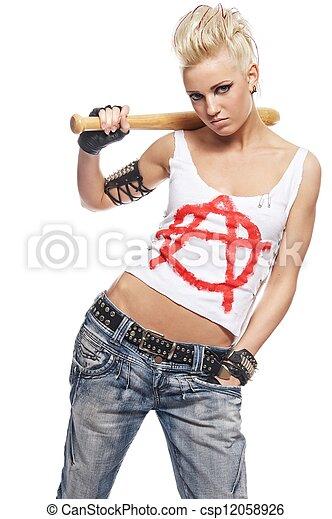 Chica punk con un bate - csp12058926