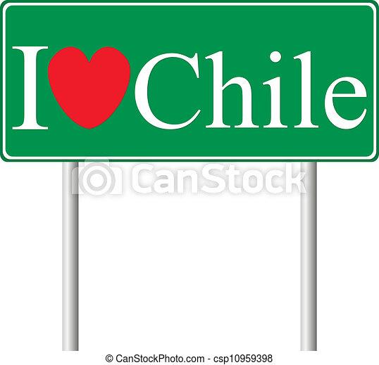 Me encanta Chile, señal de camino del concepto - csp10959398