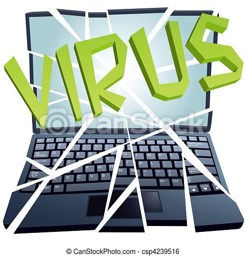 El virus de la computadora rompe la seguridad para estrellar piezas de Laptop - csp4239516