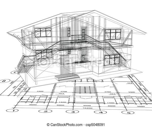 La arquitectura de una casa. Vector - csp5048091