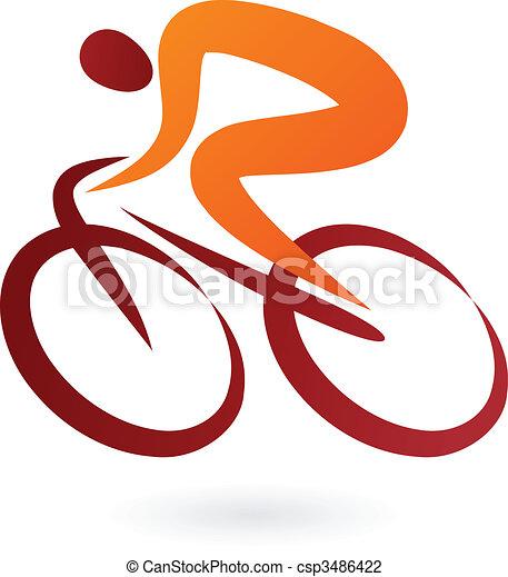 icono ciclista - ilustración vector - csp3486422
