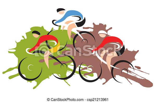 Ciclistas de carreras de motos de montaña - csp21213961