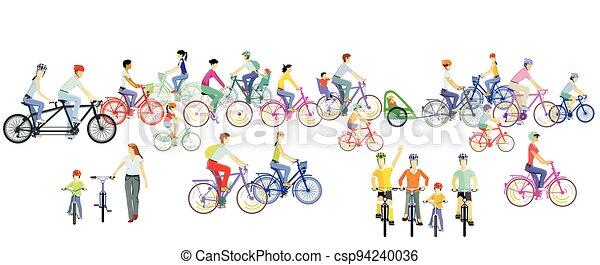 ciclistas, equitación, illustration.eps, grupo, bicicleta - csp94240036
