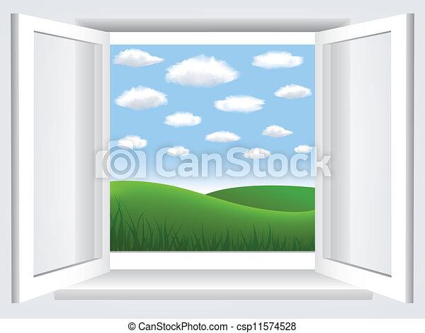 Ventana con cielo azul, nubes y hiil verde - csp11574528