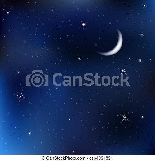 Cielo nocturno con luna y estrellas - csp4334831