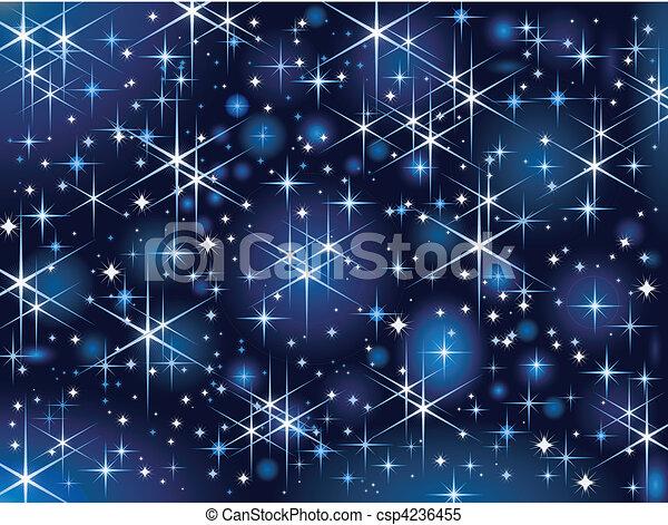 Cielo estrellado, brillo navideño - csp4236455