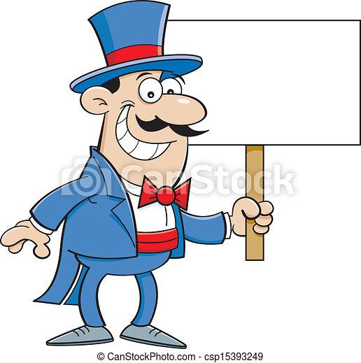 Hombre de dibujos animados con un si - csp15393249
