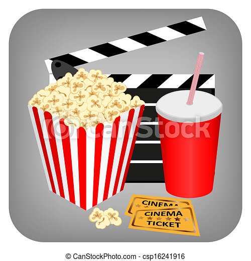 Cinema - bebida, palomitas y entradas - csp16241916