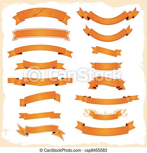 Pancartas gráficas y cintas puestas - csp8455583