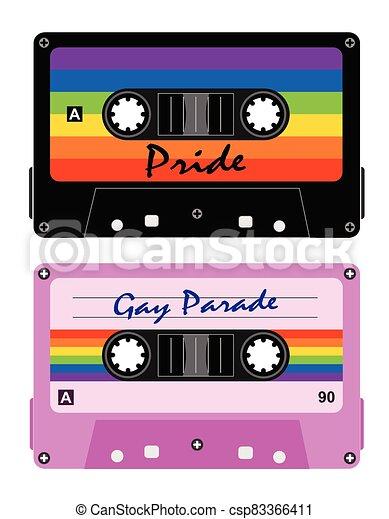 cintas, fita-cassete, lgbt, cassette, retro - csp83366411