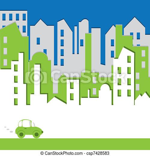 Cityscape. Abstraer el edificio con auto. Concepto de energía - csp7428583