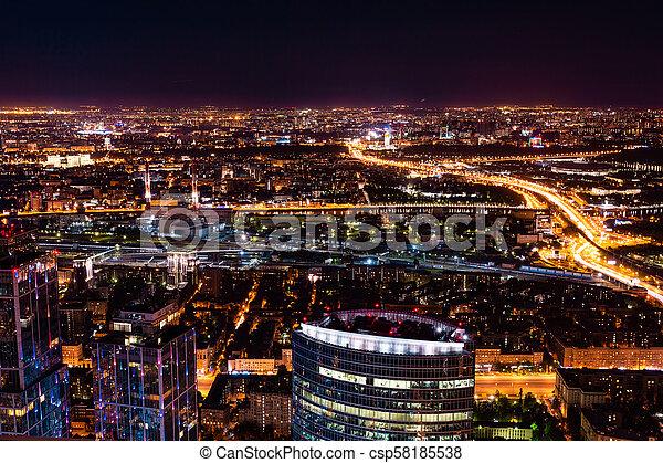 Vista aérea por la noche - csp58185538