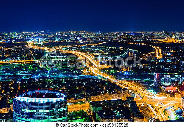 Vista aérea por la noche - csp58185528