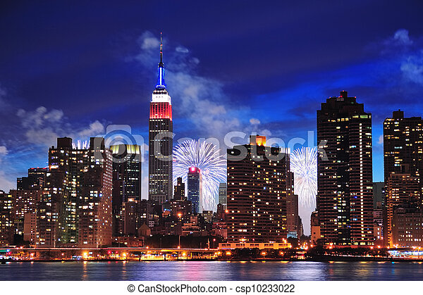 Ciudad de Nueva York Manhattan al atardecer - csp10233022