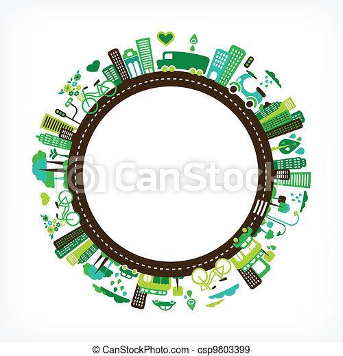Círculo con ciudad verde - medio ambiente y ecología - csp9803399