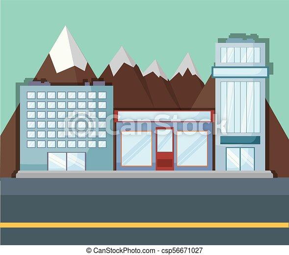 Landscape con edificios de la ciudad - csp56671027