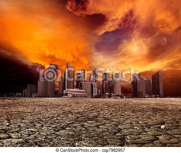Ciudad con vista a paisajes desolados - csp7982957