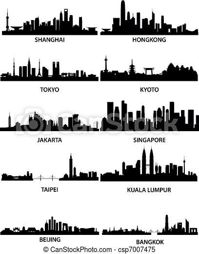 Ciudades asiáticas paracaidistas - csp7007475