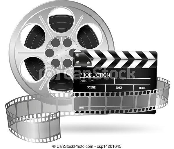 Claps de cine y rollos aislados - csp14281645