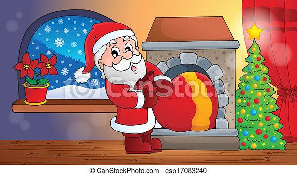 Santa Claus en la escena interior 6 - csp17083240