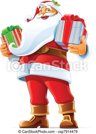 Santa Claus con regalo - csp7914479