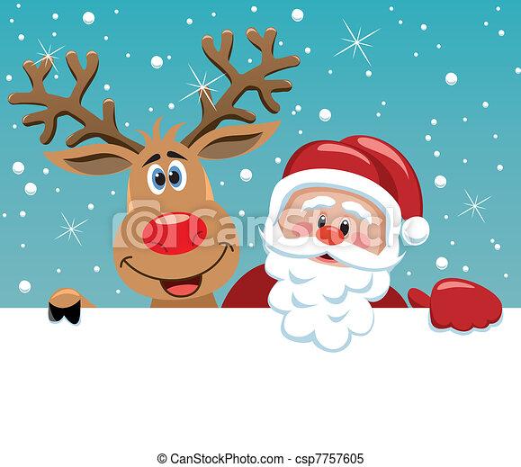 Santa Claus y Rodolfo ciervos - csp7757605