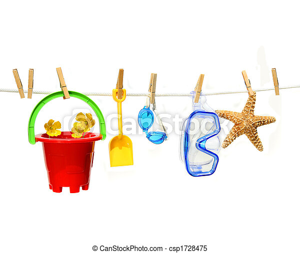 Juguetes de verano de niños en la línea de ropa contra el blanco - csp1728475
