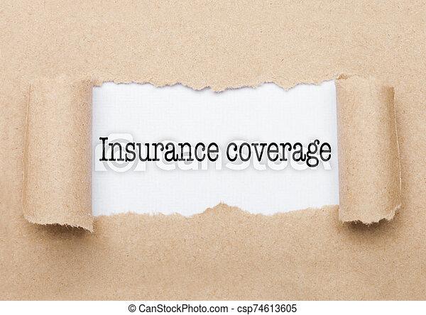 cobertura, aparecer, atrás, papel, texto, seguro - csp74613605