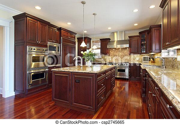 Cocina con armarios de madera de cereza - csp2745665