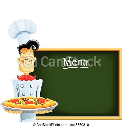 Cocinar con pizza y menú - csp5660810