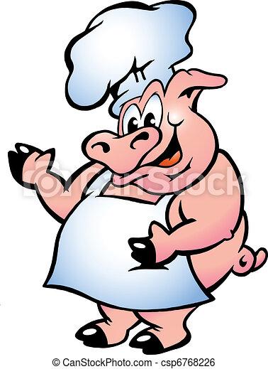 Cocinero de cerdo con delantal - csp6768226