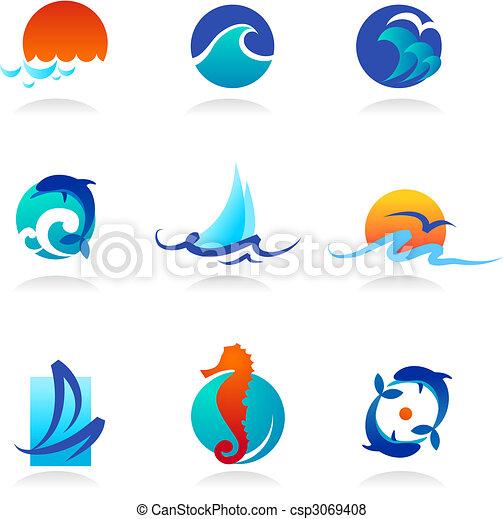 Colección de iconos relacionados con el mar - csp3069408