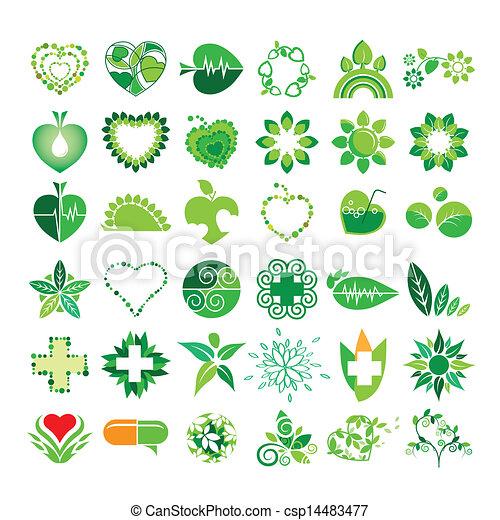 Colección de logos vectores salud y medio ambiente - csp14483477