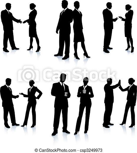 Colección de siluetas del equipo de negocios - csp3249973