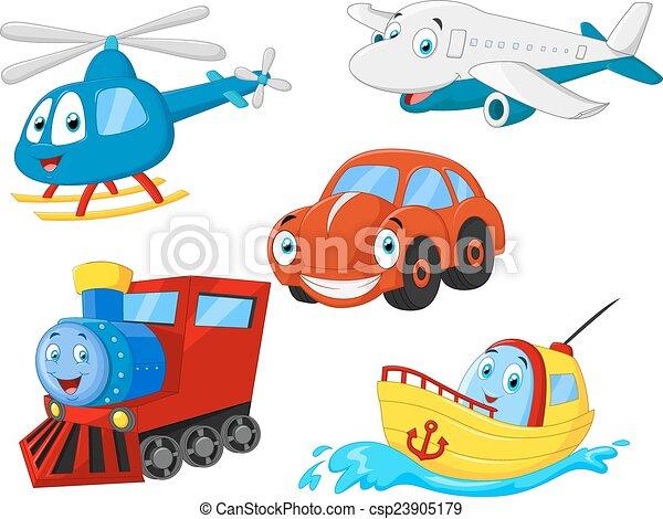 Colección de transporte de dibujos animados - csp23905179