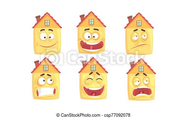 colección, lindo, expresiones, casas, edificio, vario, carácter, humanized, cara, vector, ilustración, divertido, caricatura - csp77092078
