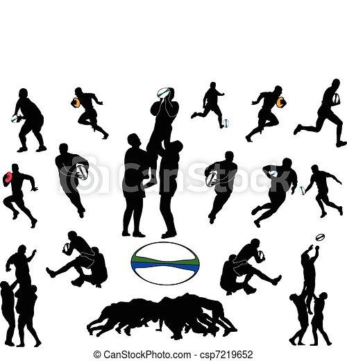 Colección Rugby, vector - csp7219652