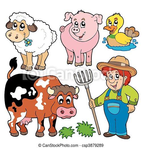 Coleccion de caricaturas de granja - csp3879289