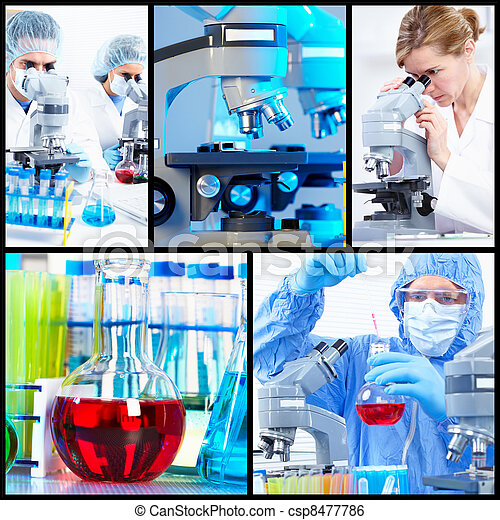 Collage científico de fondo. - csp8477786
